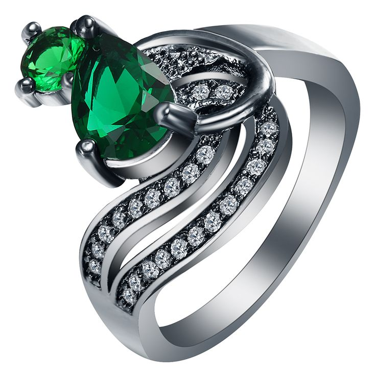 Hot Luxury Design Gift Green Blue Stone New black Rings for women new fashion jewelry elegant princess Zircon Engagement Ring