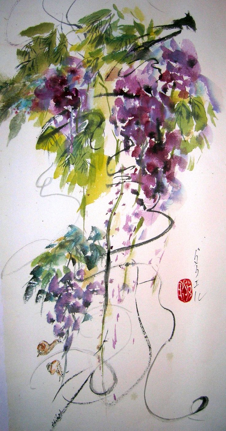 35 best images about sumi e wisteria on pinterest for Japanese watercolor paintings