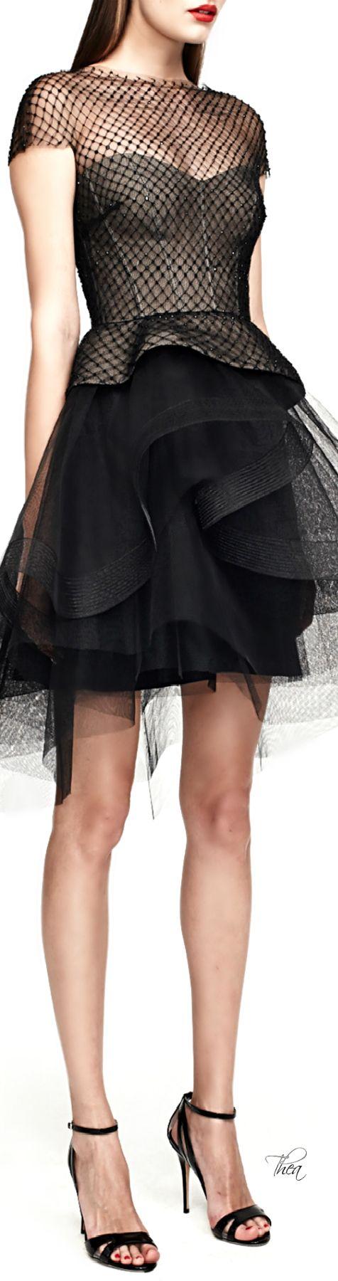 Monique Lhuillier ● SS 2015, Peplum Cocktail Dress With Tiered Skirt