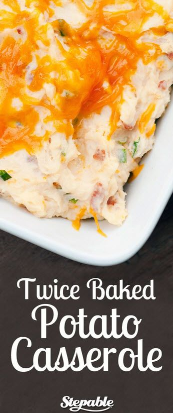 Twice baked potato casserole. 3 1/2 pounds russet potatoes, 6 oz cheddar cheese, 8 slices bacon, 1/2 cup butter, 1/3 cup sour cream, 1/3 cup milk, 2 stalks green onions, chopped, 2 T cream cheese, 1 teaspoon salt, plus more to taste, 1 teaspoon pepper, plus more to taste
