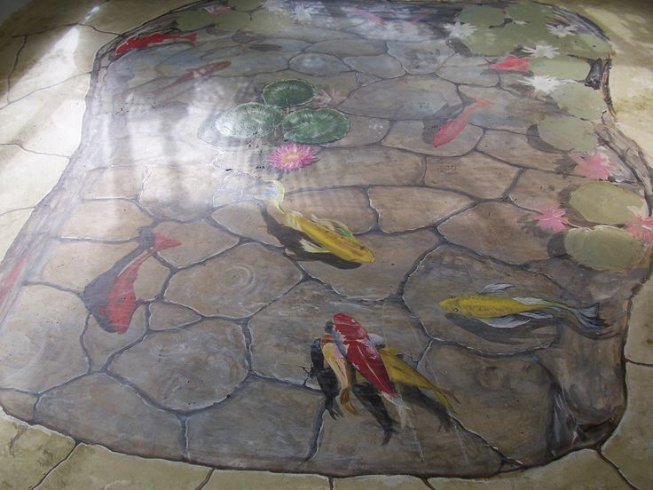 Floor Mural Trompe L Oeil Koi Fish Pond By Louise