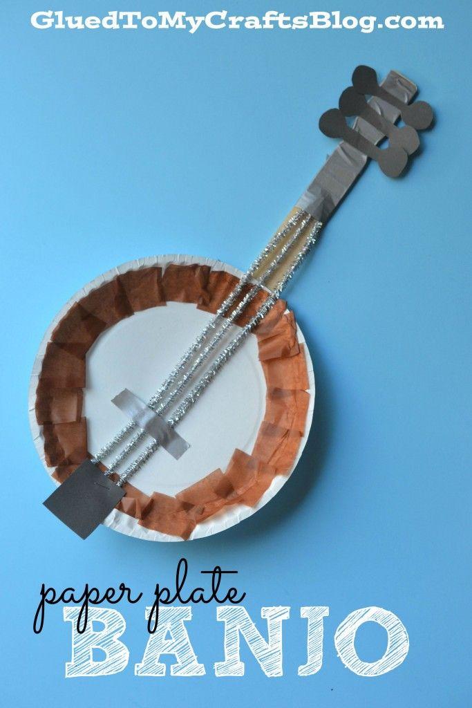 Paper Plate Banjo Kid Craft Glitter Glue Griot Crafts For