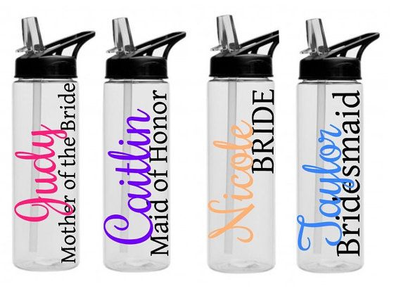 Gift Ideas for Bridesmaids we Love / #giftsforher:  Custom water bottles - Personalized bridal Wedding Party Bride Maid of Honor Bottle, Bridesmaid Bottle, 24 oz BPA free tall bride cup,