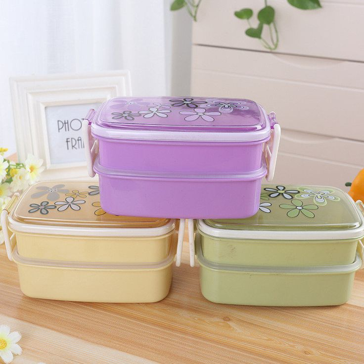 1200ml Microwave Plastic Lunch Box Picnic Food Container Storage 2-layer Lunch Box Food Container