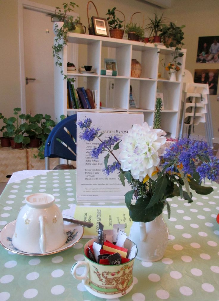 The Garden Room, a lovely place for tea from real china cups. Dr Neil's Garden, Edinburgh.