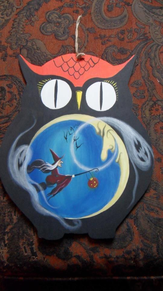 vintage 2 sided owl halloween ornament decoration - Vintage Halloween Decorations For Sale