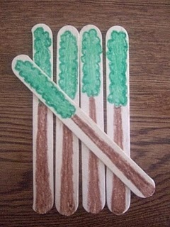 teaching tally marks: would also work for teaching through the woods. Draw trees on sticks then put into small balls of playdough to stand up. Have stick puppets walk through the woods.