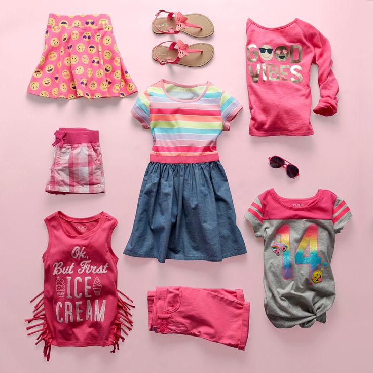 Girls' fashion | Kids' clothes | Rainbow stripe dress | Graphic top | Fringe tank top | Skimmer shorts | Plaid shorts | Emoji print skort | Embellished top | Butterfly sandals | The Children's Place