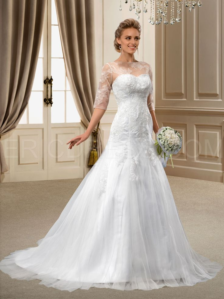 ericdress.com offers high quality   A-Line 1/2 Sleeves Appliques Court Wedding Dress Wedding Dresses 2014 unit price of $ 198.89.
