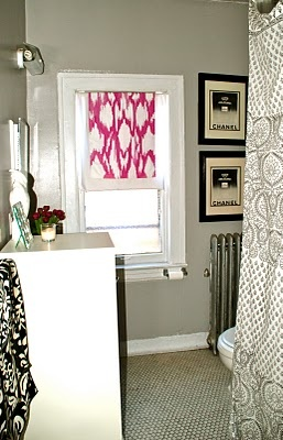 DIY painted window shade. add it to add decor to your room! accent colors anyone?