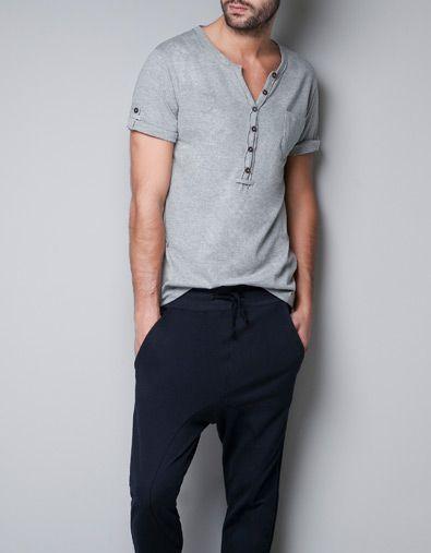 BUTTON NECK T-SHIRT - Homewear - Man - ZARA Italy
