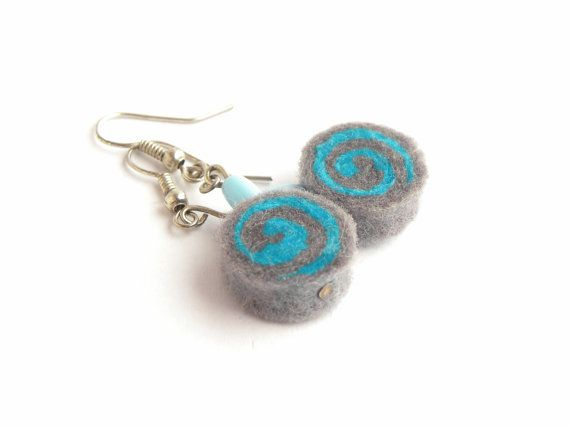 Earrings - unique felted rolls, no 91, felt earrings, very light, colorful earrings, unique pattern, turquoise earrings, christmas gift