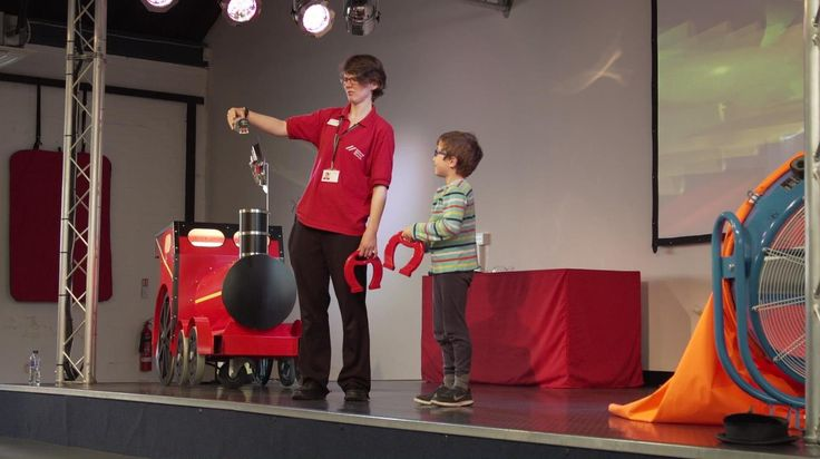 Participating in a fast-paced interactive science show at the National Railway Museum