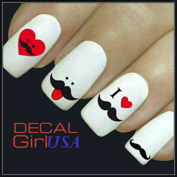 Mustache Nail Art Decals 32 Mustache Nail Decals by DecalGirlUSA, $3.99