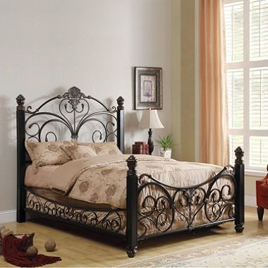Alysa Metal Queen Bed With Decorative Side Rails Bed