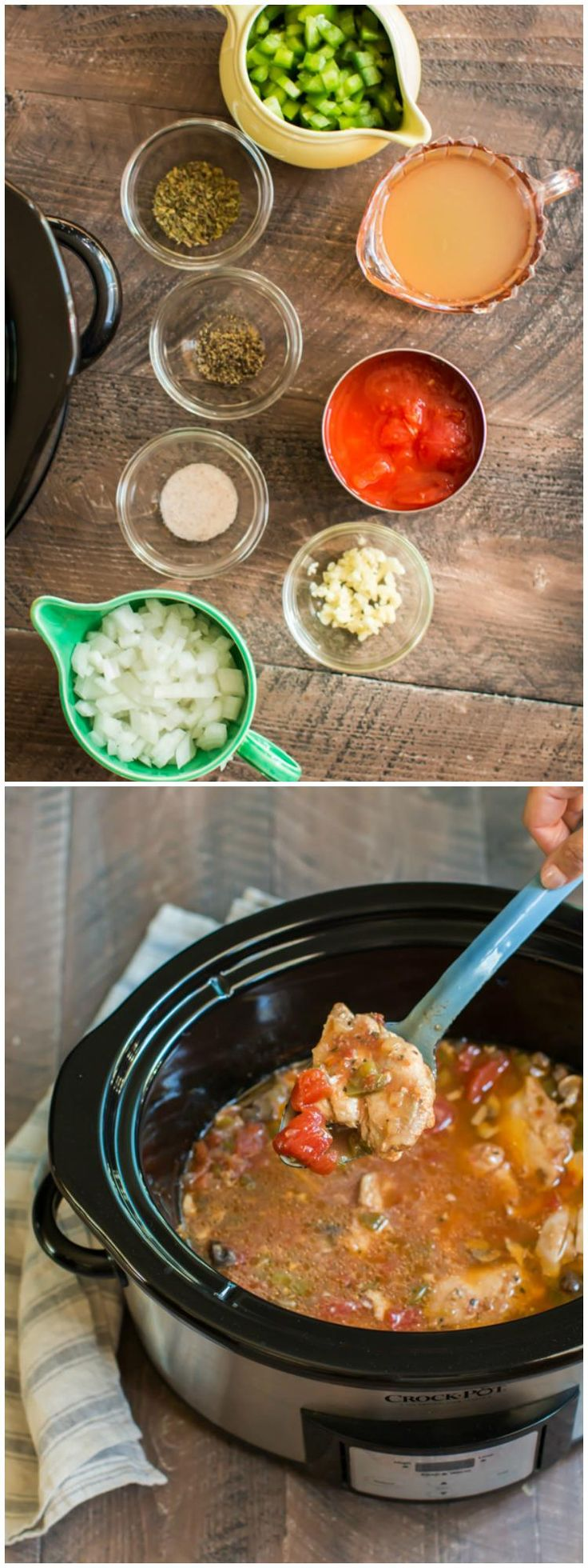 Slow Cooker Chicken Cacciatore. A vintage recipe converted for the slow cooker. Goes great over rice!
