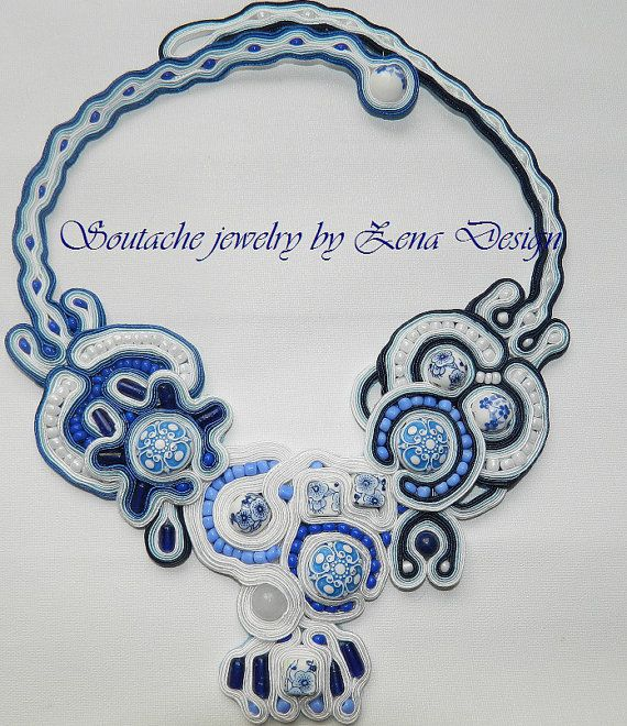 Necklace soutache  Amsterdam by SoutacheZena on Etsy, $49.00