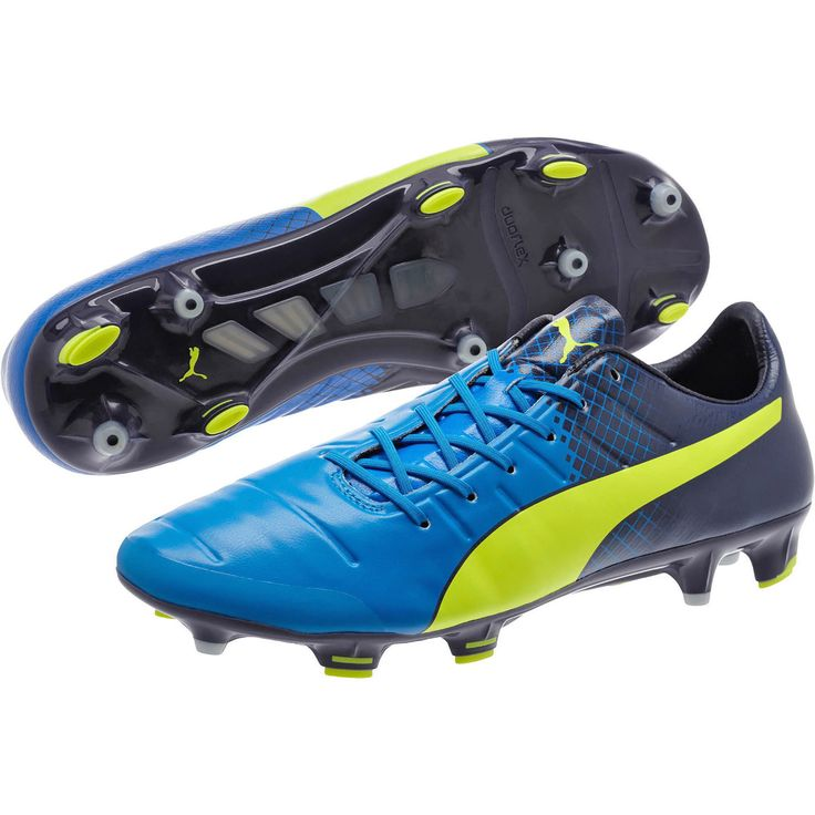 New $220 PUMA EvoPower 1.3 FG Mens Soccer Cleats : Blue / Navy / Yellow