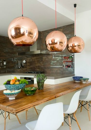 Dining with beautiful pendantsCopper Lights, Tom Dixon, Dining Room, Lights Fixtures, Chairs, Kitchens Tables, Copper Pendants, Pendants Lights, Dining Tables