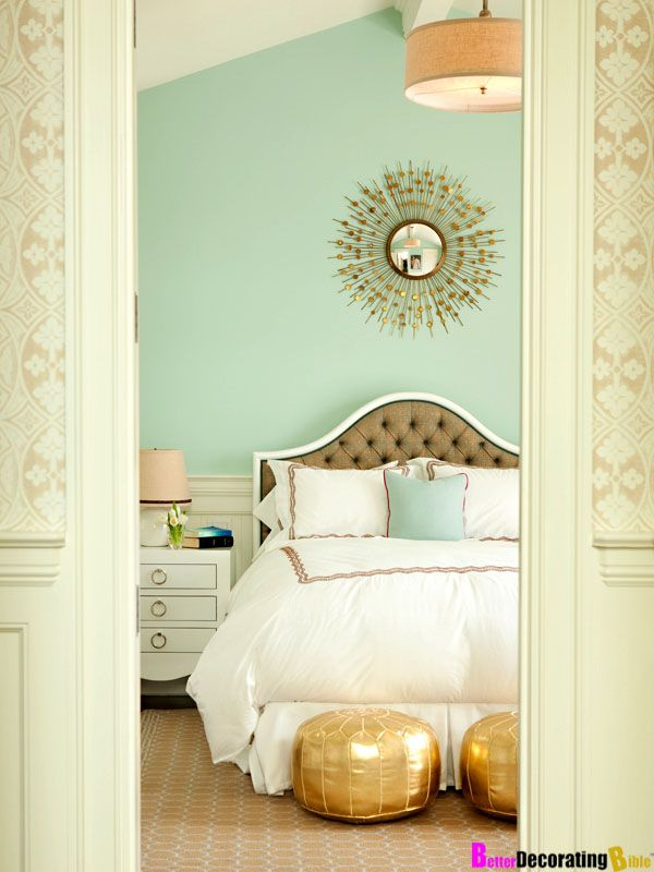 Love the sea glass green wall master bedroom so light and airy love