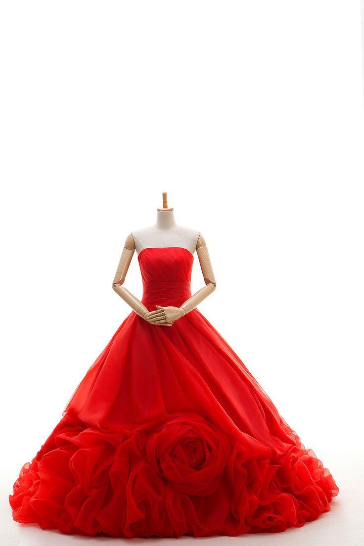 カラードレス激安 プリンセスライン レッド 赤 当店の人気商品 大きいな巻花モチーフ vj0176-red  ¥33,500
