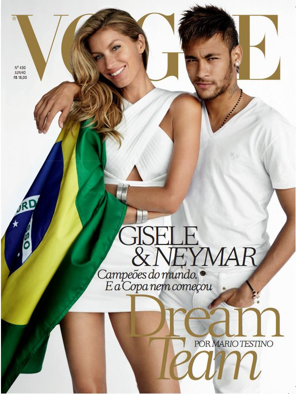 Just in time for the World Cup, Neymar and Tom Brady's wife Gisele Bundchen grace the cover of Vogue.