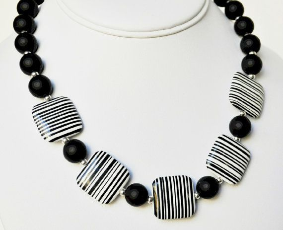 Black Necklace and White Stripped Agate Handmade Beaded Necklace with Swarovski Pearl Necklace