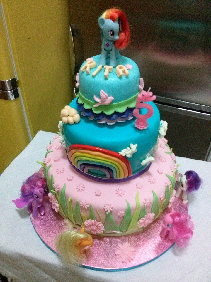 My Little Pony Cake. Strawberry layer cake perfect for a babygirl's birthday