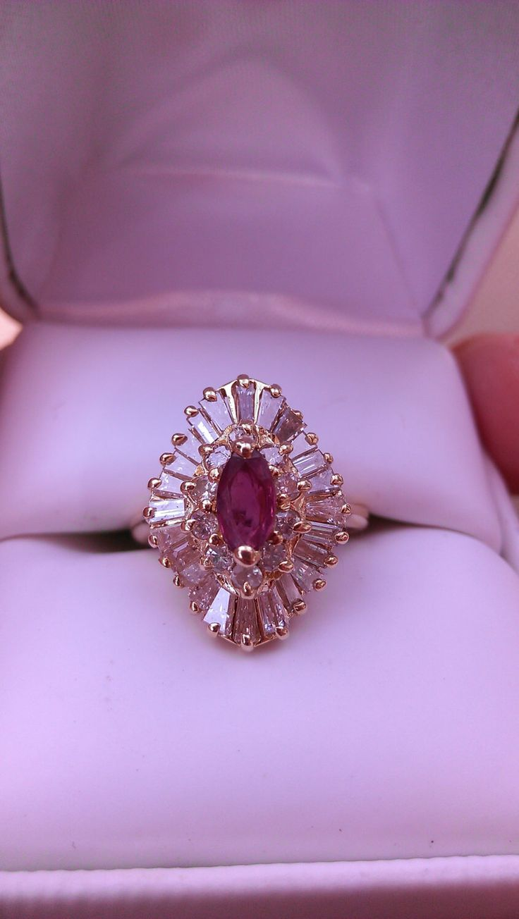 14k Gold 2ct Ruby Diamond Ballerina Wedding Ring Price Reduced By  Madameckerson On Etsy Https: · Morganite Engagement Ringsemerald Earringsruby