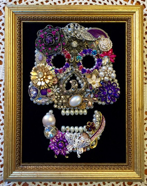 Framed Vintage Jewelry Artwork  This Vintage Renewed picture is a One of a Kind beautifully created piece. In all of my art I use mostly vintage and high quality costume jewelry placed atop pearl beads. Each vintage piece has been hand selected and hand placed, making it a truly unique item. I enjoy making these pictures and am bringing them to you hoping you will enjoy them as well! This is something that would make a wonderful gift and could be passed on year after year as a family…