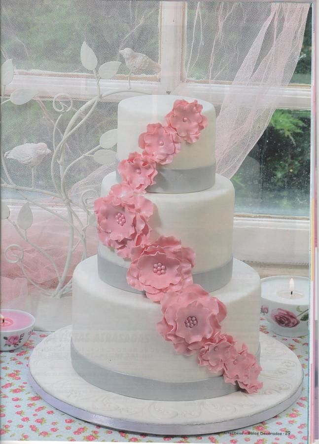 White, silver and pink wedding cake