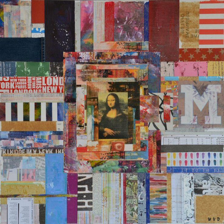Wouter van Donselaar. Mona Lisa. Kleurrijk abstract modern mixed media schilderij, opgebouwd uit diverse lagen (dekkend en transparant) en met verschillende materialen.