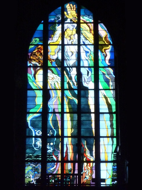 """""""Let it Be"""" stained glass by Stanislaw Wyspianski.    The Franciscan Church in Krakow, Poland is fascinating. It does not appear out of the ordinary when looking at its exterior, but its interior is a masterpiece. Wyspianski's art-nouveau style is reflected throughout the church, but the windows are inspired! I have never seen anything like them!"""