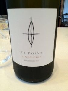 Ti Point Pinot Gris 2011 Marlborough  The colour shone brilliantly through the glass, the nose seductive, with citrus fruit but also an underlying exotic fruits, there was also a synthetic character that troubled me.  The slightly off-dry palate issued an abundance of fruit, good texture and long finish, but that synthetic carried through to the palate and although a very easy drinking wine felt awkward, almost angular.     82 Points  4 Stars  RRP $22