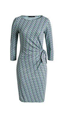 Esprit / Stretch Print Jersey-Kleid mit Knoteneffekt
