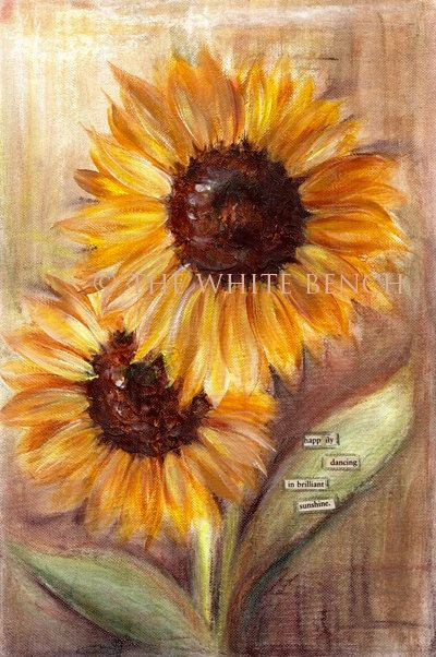 Items similar to Sunflowers. Original Mixed Media Painting. Inspirational Art. Mixed Media Art. on Etsy