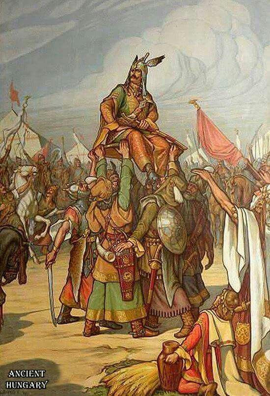 Árpád vezér pajzsra emelése és bemutatása Napnak