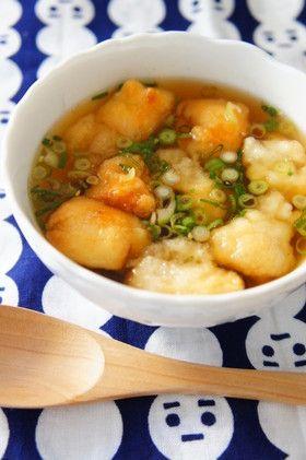 Deep fried mochi soup 簡単おだしの揚げ餅スープ