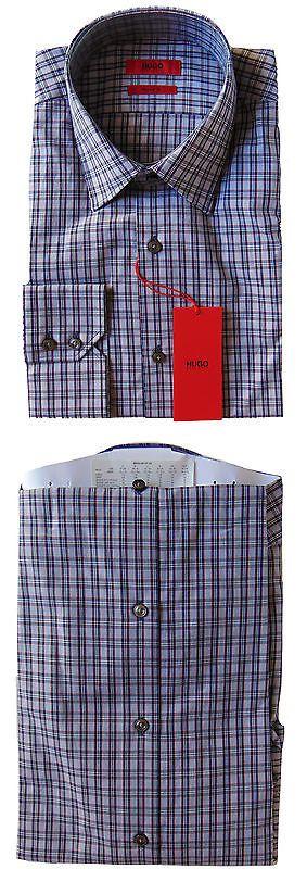 Dress Shirts 57991: Men S Hugo Boss Navy Blue White Red Plaid Dress Shirt 15