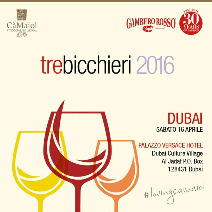 Il tour internazionale per i festeggiamenti del trentesimo anniversario di Gambero Rosso prosegue il 16 aprile a Dubai, presso il Palazzo Hotel Versace. Ci saremo anche noi! #lovingcamaiol  Tutte le informazioni sull'evento sono qui http://bit.ly/GamberoRosso_TreBicchieri2016_Dubai