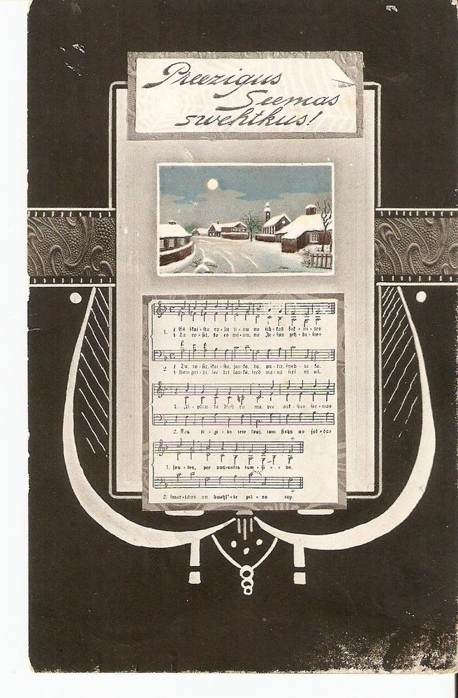 carte postale Lettonie Noël chanson adressée Mme Grunshtein Russian-Assian Bank