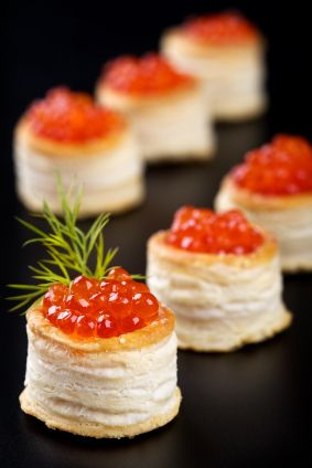 Prince William's Engagement Party Menu..Puff Pastry Dough filled with cheese of your taste .;;topped with Caviar and Dill. Chef Bella's Gourmet Cuisine