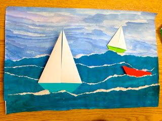 Painted sky, painted and ripped (or just blue) paper, and paper boats.
