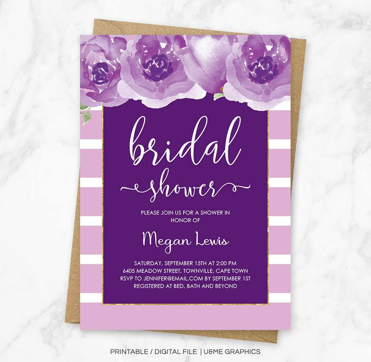 Purple Bridal Shower Invitation, Purple Stripes, Purple Floral Shower Invitation, Watercolor Floral Invitation, Purple Shower, Digital