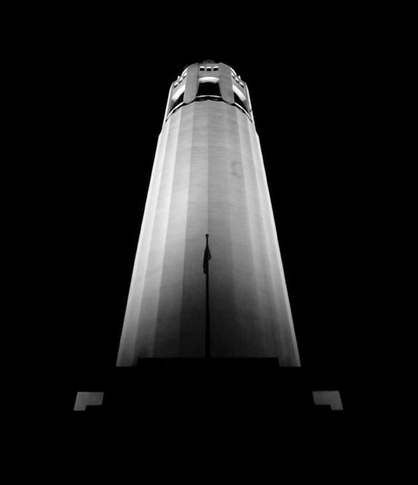 Illuminated Coit tower at night, located in San Francisco, California.