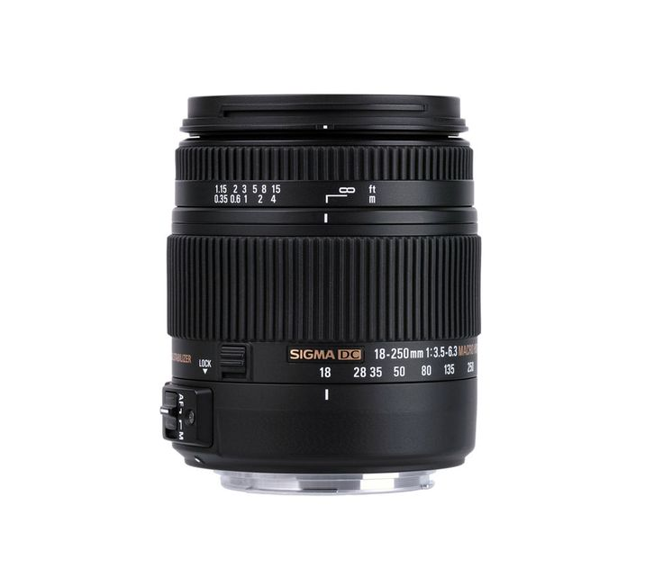 SIGMA  18-250 mm f/3.5-6.3 DC HSM OS Telephoto Zoom Lens with Macro - for Nikon Price: £ 241.00 The Sigma 18-250 mm f3.5-6.3 DC OS HSM Macro Lens for Nikon DSLR cameras is both compact and versatile, its massive high-ratio zoom providing mesmerising close-up images. Zoom, zoom, zoom Designed for digital SLRs, the superzoom Sigma 18-250 mm f3.5-6.3 Macro Lens boasts a whopping 13.8x zoom...