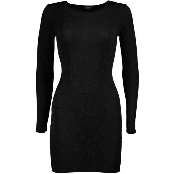 Boohoo Petite Louisa Long Sleeve Panel Bodycon Dress (38 BRL) ❤ liked on Polyvore featuring dresses, petite dresses, long sleeve dresses, panel bodycon dress, bodycon dress and boohoo dresses