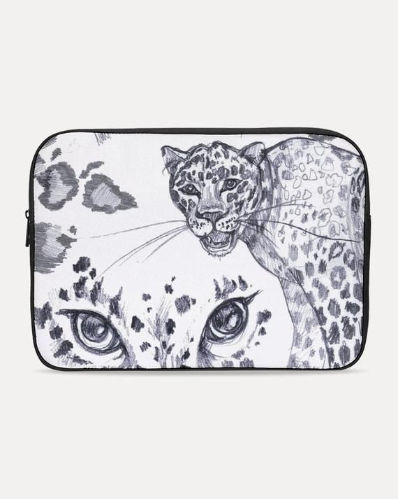 Personalized Laptop Sleeve Animal Tiger Leopard Printed Laptop Computer Cover Scratch Resistant Neoprene Laptop Computer Protective Case Cover Compatible with Tablet White 15inch