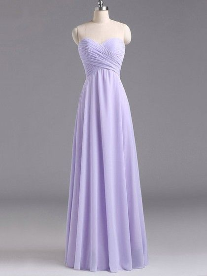 Sweetheart Lavender Chiffon Floor-length Ruffles Discount Bridesmaid Dresses - dressesofgirl.com