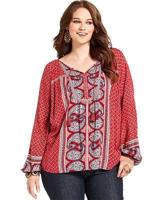 Lucky Brand Jeans Plus Size Top, Long-Sleeve Mixed-Print Peasant